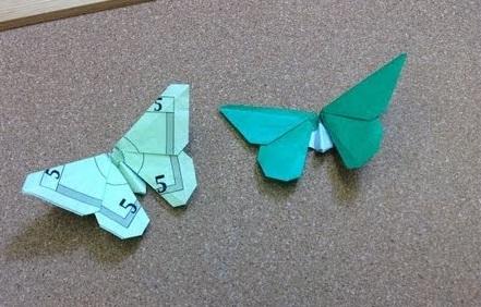 Оригами бабочка из денег