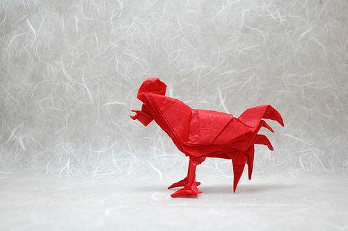 Оригами петух от Эрика