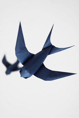 Оригами схема ласточки