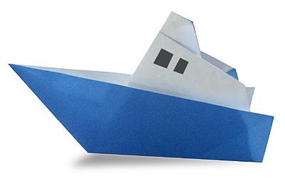 Пароход оригами схема